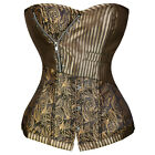 Women's Renaissance Lace up Boned Floral Retro Overbust Corset With G-string FS
