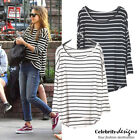 tp17LST Ladies Nautical Sailor Striped T Shirt Black and White Oversized Tee 12