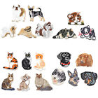 Cute Dog Cat Pattern Iron On Patches Set Embroidered Applique DIY Sew Clothing