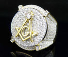 Sterling Silver Yellow Finish Men's 3D Freemason Simulated Diamond Designer Ring