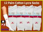 12 pairs LADIES GIRLS BOYS WHITE COTTON LYCRA ANKLE SOCKS size uk 4-6
