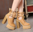 Womens lace up peep toe high heel chunky shoes ankle buckle platform hollow W98
