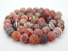 Colorful Matte Fire Crackle Agate Gemstones Round Beads 15
