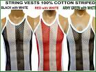 MENS 100% COTTON FISHNET MESH STRING VEST WHITE with BLACK RED ARMY size M L XL