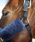 "Natural Sheepskin 6"" Pr Bridle Strap Pads Cover Horse Gear Grazing Muzzle Halter"