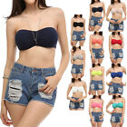 Cute Solid Basic Front Ruched Strapless Bandeau Casual Easy Wear Cotton S M L