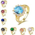 Halo Beautiful Solitaire Yellow Gold Filled Women's Wedding Ring Size 6,7,8,9,10