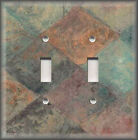 Metal Light Switch Plate Cover Tuscan Tones Tiles Copper Brown Blue Green
