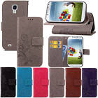 For Samsung Galaxy S4 SIV i9500 With Starp Case Leather Embossed+Soft TPU Cover