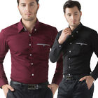 Business Mens Casual Cotton Long Sleeve Dress Shirts Button Front Work Tops S~XL