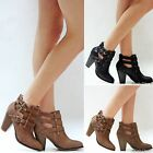 New Women FC62 Black Tan Brown Western Ankle Booties Riding Boots