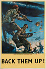WB66 Vintage Back Them Up British Airbourne WW2 World War II Poster A2/A3/A4