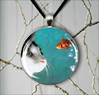 CAT AND FANTAIL FISH PENDANT NECKLACE  -v4t5b