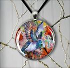 BLUE BIRD STAINED GLASS DESIGN PENDANTS NECKLACE  -vhq2