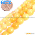 "Light Yellow Jade Gemstone Round Beads Free Shipping Strand 15"" 6mm 8mm 10mm"