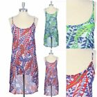 All Over Printed Adjustable Spaghetti Strap High Low Hem Dress Casual Poly S M L