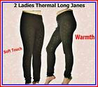 2 pieces LADIES BLACK THERMAL UNDERWEAR LONG JANE / JOHNS  WARM
