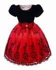 NEW Kid Flower Girl Pageant Wedding Party Birthday Dress Black Red Size 3-8 Z572