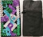 Handmade Embroidery Mobile Black Velvet Jewelry Purses iPhone Side bag Pouch Hot