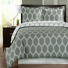 Brooksfield Gray and White Egyptian Cotton Duvet Cover Set