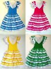 New Girls Beautiful Spanish Flamenco Dance Dress Blue Green Pink, Yellow, Purple