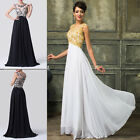 Black Sexy APPLIQUE Long Bridesmaid Dresses Evening Wedding Party Prom Ball Gown