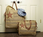 BURLAP TOTE BAG WITH STAR AND STRIPE EARTH FRIENDLY COLLECTION BY MONO B