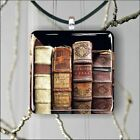 OLD BOOKS COLLECTION SQUARE PENDANTS NECKLACE MEDIUM OR LARGE -phy7Z