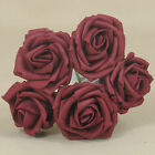 60 x 6cm Dia Open Roses in Burgundy Colourfast Foam Artificial Wedding Flowers