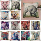 Creative Elephant Pattern Cotton Linen Throw Pillow Cover Case Cushion Cover