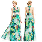 Formal Long Sexy Halter V-Neck Flower Chiffon Ball Gown Evening Prom Party Dress