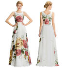 Long Sexy Sleeveless Flower Pattern Chiffon Ball Gown Evening Prom Party Dress