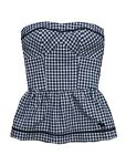 Abercrombie & Fitch Womens Navy Blue Check Strapless Top