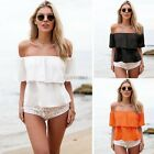Summer Women Off Shoulder Ruffled Low Back Chiffon Loose Blouse Shirt Crop K0E1