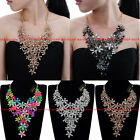 Fashion Gold Chain Resin Acrylic Crystal Collar Statement Pendant Bib Necklace