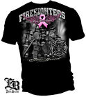 Black T-Shirt with Fight for a Cure Pink Ribbon Elite Breed Firefighter Design