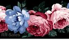 Large Blue Cabbage Roses Pink Green Background Chic Shabby Wall Wallpaper Border