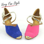 New Womens Ballroom Latin Dance Shoes Salsa Tango Blue Pink Size 5-9