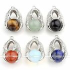 Round Natural Gemstone Bead Eagle Talon Claw Wrap Pendant For Necklace DIY Gift