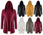 Womens Ladies Hood Open Blazer Jacket Coat Zip Pockets Elbow Patch Textured Top