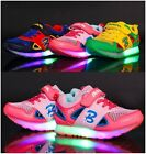 Boys Girls Colorful LED Light Up Kids Baby Sport Mesh Breathable Sneakers