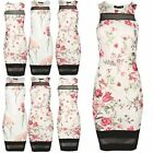 Womens Party Casual Floral Round Neck Midi Ladies Bodycon Contrast Mesh Dress