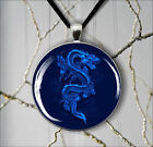 ASIAN BLUE DRAGON PENDANT NECKLACE  -v4t5x