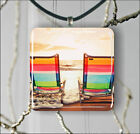 BEACH SUNSET CHAIRS SUN AND SAND PENDANTS NECKLACE M - L - XL -jik3Z