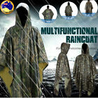 Waterproof  2 In 1 Hooded Ripstop Festival Rain Poncho Military Camping Hiking