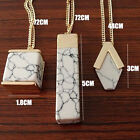 Summer Creative Womens Faux Stone Pendant Necklace Geometric Marble White Stone
