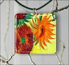 SUNFLOWERS DETAIL OF ART VAN GOGH PAINT PENDANTS NECKLACE OR EARRINGS -esd5Z
