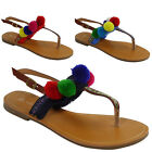 NEW WOMENS LADIES STRAP FLAT TOE-POST SHOES POM POM BEACH GLADIATOR SANDALS SiZE