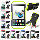 For Motorola Moto G4 Play Heavy Duty Kickstand PC Rubber Rugged Armor Case Cover