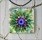 THISTLE FLOWER CLOSE UP PENDANT NECKLACE OR EARRINGS -wcf4Z